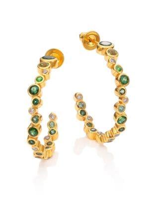 "Pointelle Diamond, Multi-Stone & 24K Yellow Gold Hoop Earrings/1"""