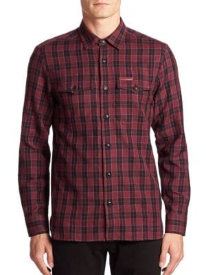 Wool Blend Plaid Shirt