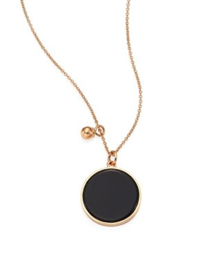 Ever Onyx & 18K Rose Gold Round Pendant Necklace