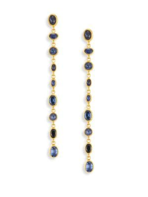 Amulet Hue Sapphire & 24K Yellow Gold Long Drop Earrings