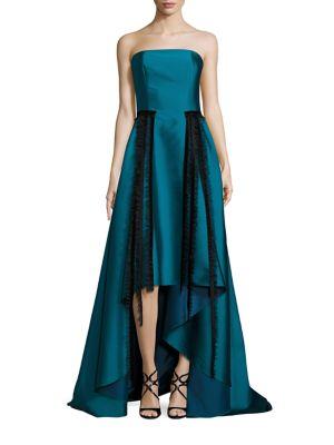 Aria Strapless Jacquard Hi-Lo Gown
