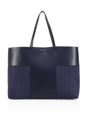 Block-T Leather & Suede Tote