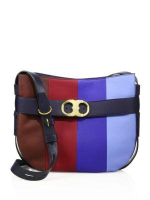 tory burch female 252066 gemini belted stripe leather hobo bag