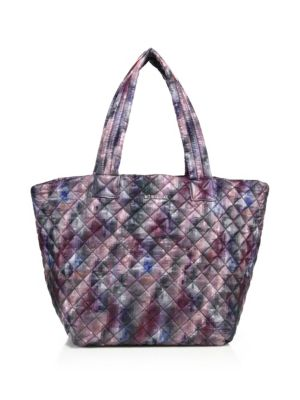 Oxford Medium Metro Quilted Pixel-Print Nylon Tote