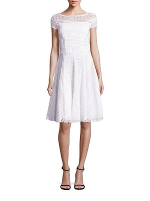 Diamond Stripe Lace Cap-Sleeve Dress