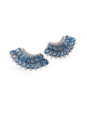 Mirage Diamond & London Blue Topaz Ear Crawlers