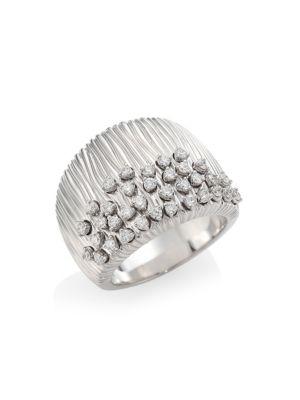 HUEB Plisse 18K White Gold & Diamond Statement Ring