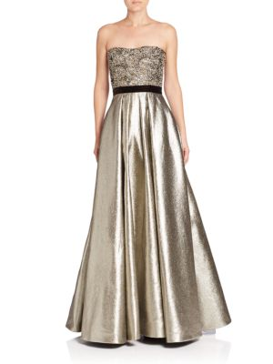 Metallic Beaded Ball Gown