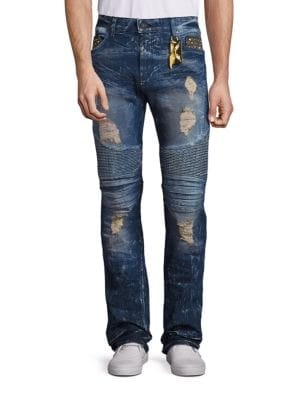 New Cargo Distressed Straight-Leg Jeans