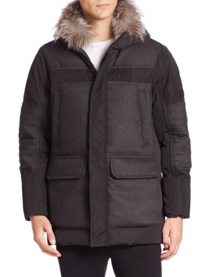 Luxe Flannel Mixed Fox Fur-Trimmed Parka