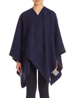 Burberry Reversible Check Wool Poncho