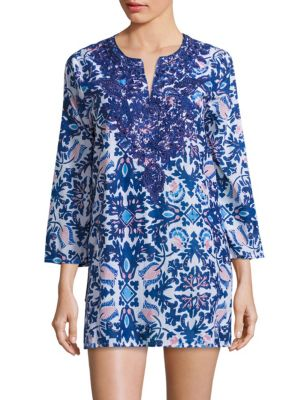 Delft Hope Embroidered Kurta Coverup plus size,  plus size fashion plus size appare