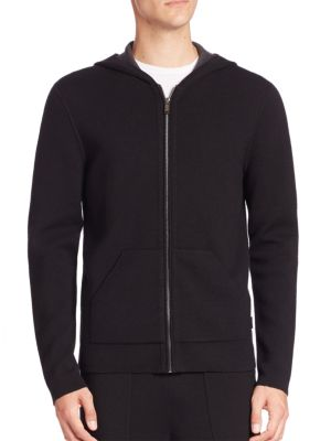 michael kors male merino wool double knit hoodie
