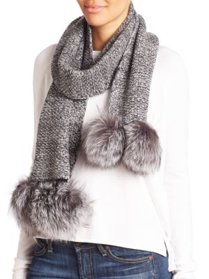 Cashmere & Fox Fur Pom-Pom Scarf
