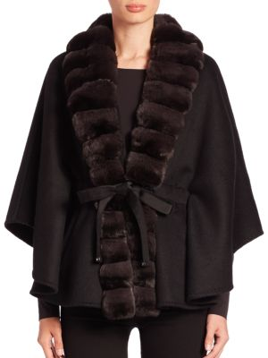 Fur-Trimmed Cashmere & Wool Cape by Guy Laroche