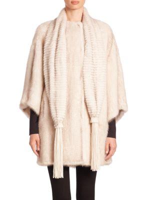 Scarf-Detail Mink Fur Coat