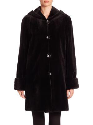 Reversible Hooded Mink Fur Coat