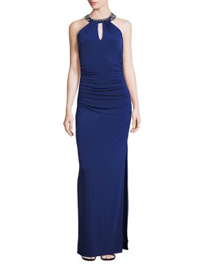 Embellished Neck Front-Keyhole Gown