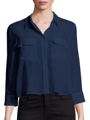 Cropped Three-Quarter Sleeve Signature Silk Blouse