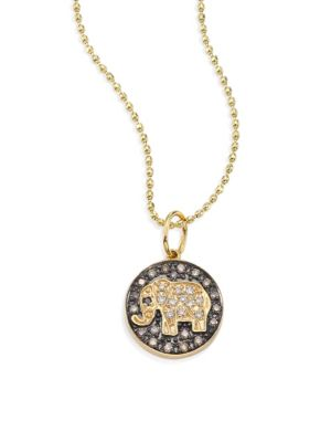 Small Elephant 14K Yellow Gold & Diamond Medallion Necklace