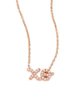 XO Diamond & 14K Rose Gold Pendant Necklace