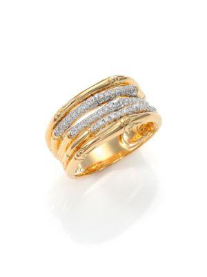Bamboo Diamond & 18K Yellow Gold Ring