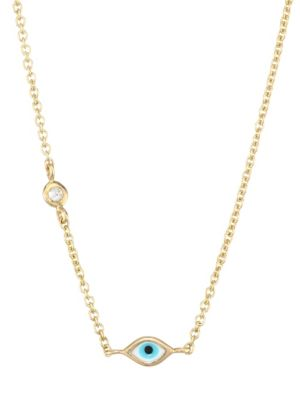 Evil Eye Diamond & 14K Yellow Gold Pendant Necklace