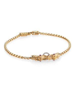 Legends Naga Diamond, African Ruby & 18K Yellow Gold Chain Bracelet