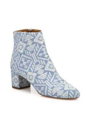 Brooklyn Embroidered Denim Block Heel Booties