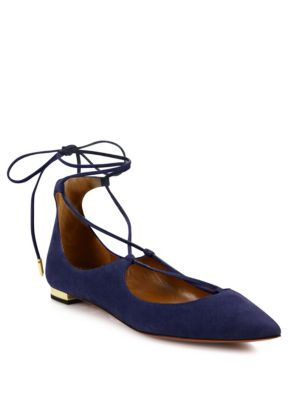 Christy Suede Lace-Up Flats