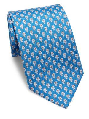 Owl Printed Silk Tie