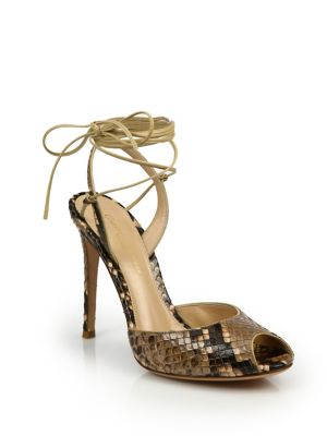 Python-Embossed Leather Peep Toe Ankle-Wrap Sandals