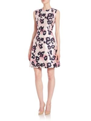 Brushstroke Floral Print Mikado Dress