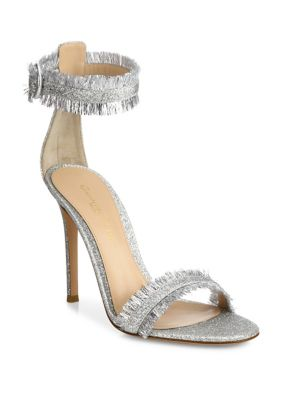 Caribe Tinsel Ankle-Strap Sandals
