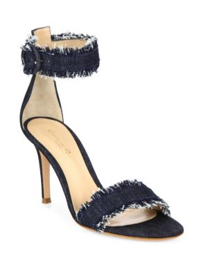 Frayed Denim Ankle-Strap Sandals