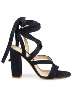 Denim Lace-Up Gladiator Sandals