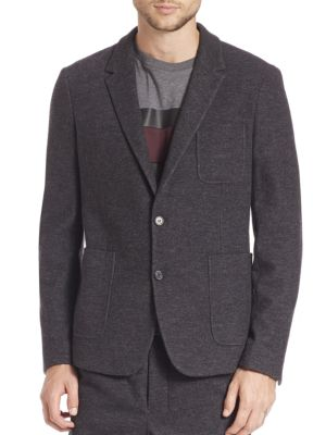 Unconstructed Two Button Wool Blend Jacket
