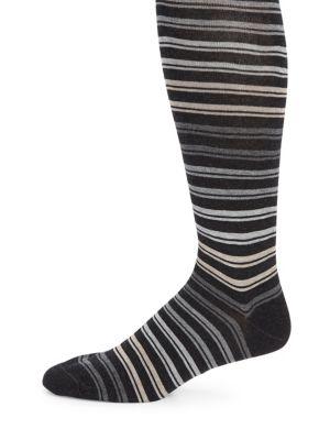 MARCOLIANI Striped Pima Cotton Blend Socks in Charcoal
