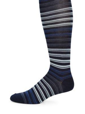MARCOLIANI Striped Pima Cotton Blend Socks in Navy