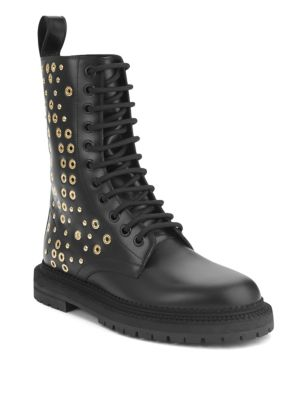 Aster Eye Studded Leather Combat Boots