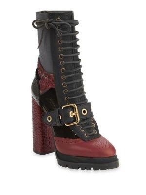 Westmarsh Cutout Leather & Snakeskin Block-Heel Booties