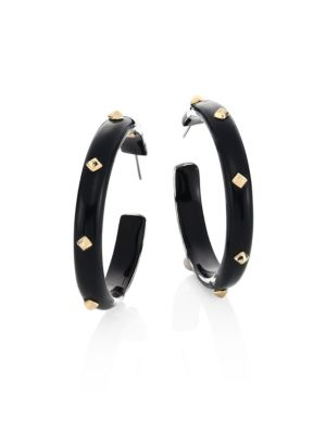 Golden Studded Lucite Hoop Earrings/2