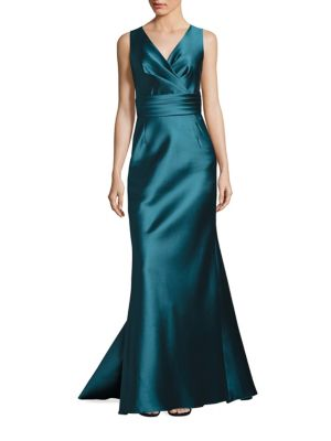 V-Neck Sleeveless Satin Gown