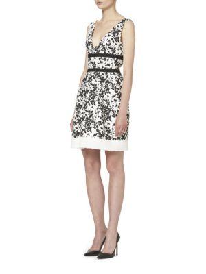 Floral-Print Tweed Dress by Carolina Herrera