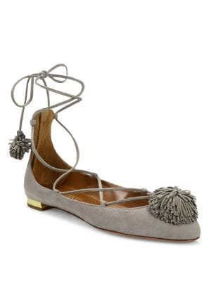 Sunshine Suede Lace-Up Ballet Flats