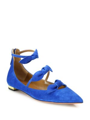 St. Tropez Bow Suede Point Toe Flats