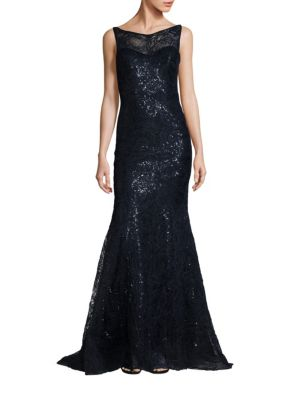 High Neck Sequin Gown
