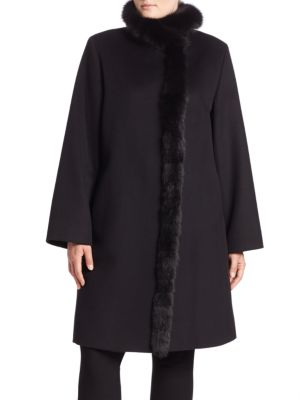 Fox Fur Trim Wool Coat plus size,  plus size fashion plus size appare