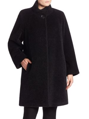 Wool & Alpaca Funnelneck Coat plus size,  plus size fashion plus size appare