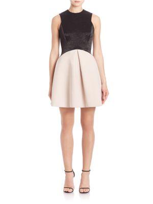 Colorblock Jacquard Fit-&-Flare Dress